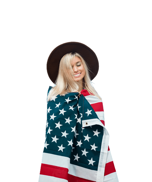 4th of July Header Woman Flag